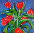 Red Tulips on Blue